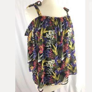 Michel Studio cold shoulder floral blouse top